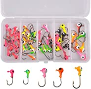 Fishing Hooks Jig Head Hooks Eye Tackle Box Kit Lead Head Round Jig Lure Bait Sharp Hooks Assorted Color Size