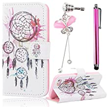 """Sunroyal Beautiful Blue Pink Dream Catcher Campanula Pattern Case iPhone 6 6s 4.7"""" Ultra Thin Premium Pu Leather Case Protective Pouch Case With Stand Holder High Grade Soft TPU Back Protective Case + White Rose Golden Leaf Anti Dust Proof Plug + Stylus Pen"""