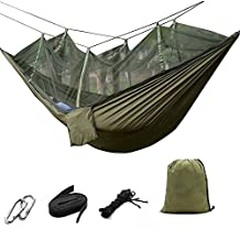 suyi Portable Foldable Double Camp Hammock Mosquito Net Hammock Tree Hammocks Tent Travel Bed,Premium Quality Lightweight 210T Nylon,Capacity up to 441 lbs,with Strong Tree Straps,Hooks,Storage Bag