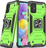 Amytor Designed for Samsung Galaxy A51 4G Case with [ 2 x Tempered Glass Screen Protector] [17Ft. Drop Tested ] [ Military Grade ] Protective Phone Case with Ring Car Mount Kickstand