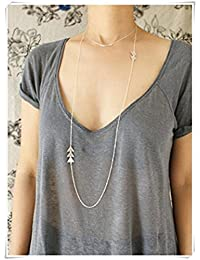 silver Triangle Geometric Necklace,long necklace