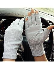 Katoenen handschoenen voor dames en heren, vingerloze handschoenen, antislip fietshandschoenen, zonwering, halfvingers, wanten, loophandschoenen voor autorijden, motorrijden, fietsen, sport, kamperen, wandelen, outdoor