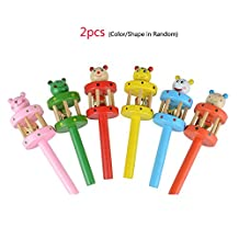 Funny Baby Kids Musical Instrument Toy Educational Toy Rattles Cartoon Wooden Sound Hammer Animal Hand Bells 2 pcs Random Color