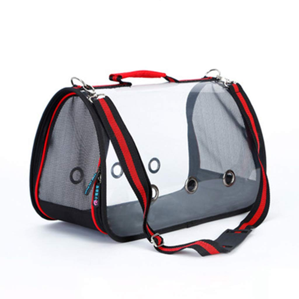 Red 52x25x27cmJunphsion Pet Carrier Bags Transparent Field of View, Portable Pet Bag Waterproof and breathable, Pet Carrier Tote Airline Approved for Car Train and Airplane Travel,Red,52x25x27cm
