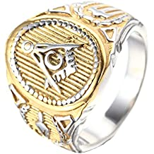 "Mens Stainless Steel Ring,Classic ""G"" Freemason Masonic,Silver Gold"