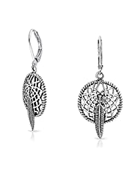 Feather Dream Catcher Sterling Silver Dangle Leverback Earrings
