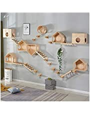 Multi-Level Cat Tree, Deluxe Cat Tower Kitten Play House Wall-Mounted Solid Wood Cat Climbing Modern Furniture Activity Center Suspension Bridge Ladder