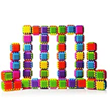 Set of 60 Large Stacking Bristle Blocks and Interconnecting Building Set for Boys & Girls, Educational Fun, Great Toy for Child development for Kids and Toddlers by Dimple