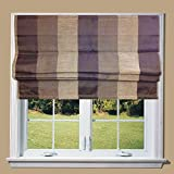 Lewis Chocolate Bold Stripe Line Roman Blind with Fittings (5ft) by Barnes Textiles