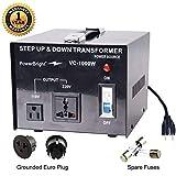 PowerBright - Transformador de Voltaje (100 W, 110 V, 220 V), 1000 W, Negro