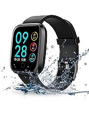 RIVERSONG Fitness Smartwatch, Fitness Tracker Armband Wasserdicht Uhr mit Pulsmesser Schrittzähler Kalorienzähler Anruf/Nachricht Erinnerung für Herren Damen Kinder iOS Andriod (Schwarz)