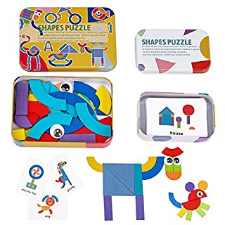 LiKee Wooden Pattern Blocks Jigsaw Puzzle Sorting and Stacking Games Montessori Educational Toys for Toddlers Kids Boys Girls Age 3+ Years Old and Classroom (36 Shape Pieces& 60 Cards in Iron Box)