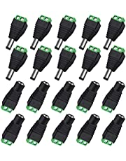 VIPMOON 20Pack/10 Pairs 5.5 x 2.1mm Male + Female DC Jack Power Connector Adapter for CCTV Camera LED Strip