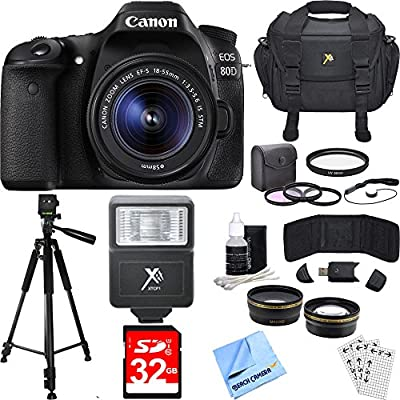 Canon EOS 80D CMOS Digital SLR Camera w/ EF-S 18-55mm IS STM Lens Deluxe Bundle includes Camera, Lens, Case, Tripod, 58mm Filter Kit, 32GB Memory Card, Flash Beach Camera Cloth and More