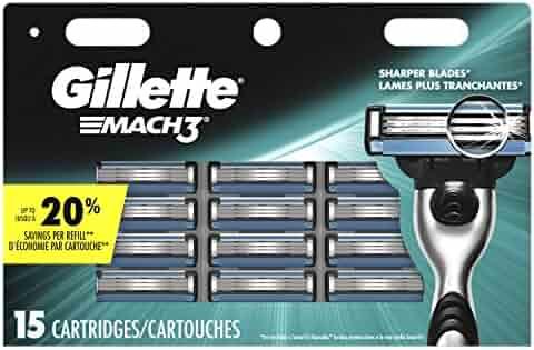 Gillette Mach3 Men's Razor Blades, 15 Blade Refills