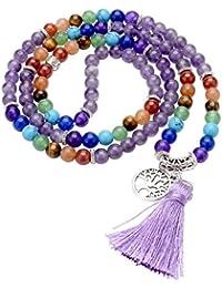 6mm Natural 7 Chakra Healing Crystal Gemstone Buddhist Prayer 108 Beads Tibetan Mala Bracelet Necklace