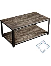 Rolanstar Rustic Coffee Table with Corner Protectors, Storage Organizer Shelves and Retro Metal Frame for Living Room, Rustic Gray