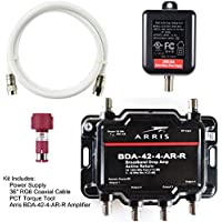 Arris 4-Port Cable, Modem, TV, OTA, HDTV Amplifier Signal Booster with Active Return And Coax Cable Kit