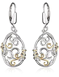 18k Yellow Gold Plated Sterling Silver Two-Tone Filigree Oval Lever Back Drop Earrings