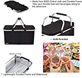 LANOUOGGK-Picnic Basket-Outdoor-Folding -Picnic Ice Bag Insulated- Strong Aluminum Frame