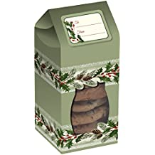 Creative Converting 6 Boxes Tall Cookie Box with See-Thru Window, Holly, Clear