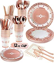 Elegant Rose Gold Party Supplies - Services 20 - Rose Gold Disposable Dinnerware Set Includes Rose Gold Plates and Napkins Cups Straws Silverware Tableware Birthday Wedding Bridal Shower Baby Shower