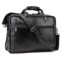 Tiding Genuine Leather Backpack Laptop Messenger Shoulder Weekend Bags Briefcase (Black 17 inch)