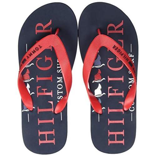 chollos oferta descuentos barato Tommy Hilfiger Nautical Print Beach Sandal Sandalias con Punta Abierta para Hombre Rojo Primary Red XLG 44 EU
