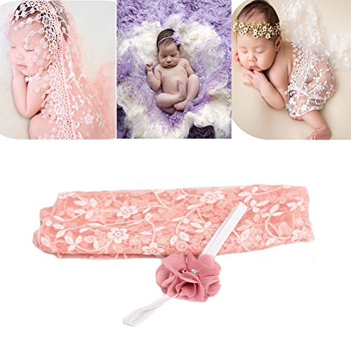 Newborn Baby Photography Props Blanket Backdrop Lace Wrap Yarn Headband for Boy Girls Baby Photo Shoot(Snow Color)