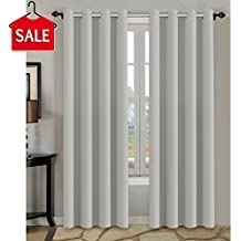 H.VERSAILTEX Blackout Thermal Insulated Room Darkening Winow Treatment Extra Long Curtains/Drapes,Grommet Panels (Set of 2,52 by 108 - Inch, Greyish White)