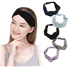 5 Pcs: HBY Solid Color Cotton Adjustable NO SLIP Multi-Style Headbands for Women Sports or Fashion