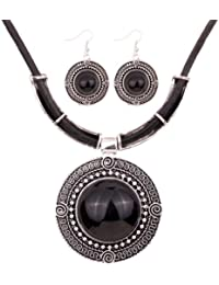 PU Leather Chain Tibetan Silver Round Turquoise Pendant Bib Statement Necklace Earrings Set
