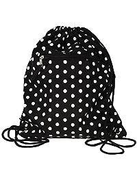 World Traveler 15 Inch Drawstring Backpack Bag, Black White Dot, One Size