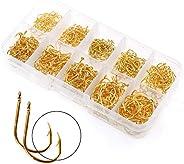 BiaoGan 500PCS Small Fishing Hooks, Assorted 10 Sizes(3#-12#) Fish Hooks Portable Plastic Box, Strong Sharp Fi
