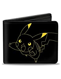 Buckle-Down Wallet Pikachu Outline Tackle + Pose Black/yellow Accessory