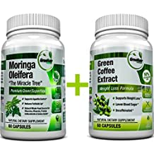 Moringa Oleifera + Green Coffee Bean Extract– Weight Loss, Healthy Heart and Blood Sugar Support Bundle – 120 Count
