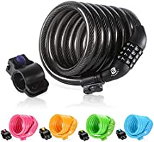 """ETRONIC Security Bike Lock M6 Self Coiling Resettable Combination Lock Bike Cable Lock, 6' x 3/8"""""""