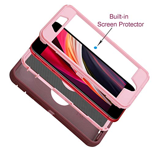 smartelf Case for iPhone SE 2020 Heavy Duty With Built-in Screen Protector Shockproof Dust Proof Drop Protective Cover Hard Shell For Apple iPhone SE 2 4.7
