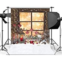 SJOLOON 5X7ft Vinyl Christmas Fireplace Window grilles Photography Background Red Candle Fire Studio Backdrop ( NO INCLUDE THE STAND ! )