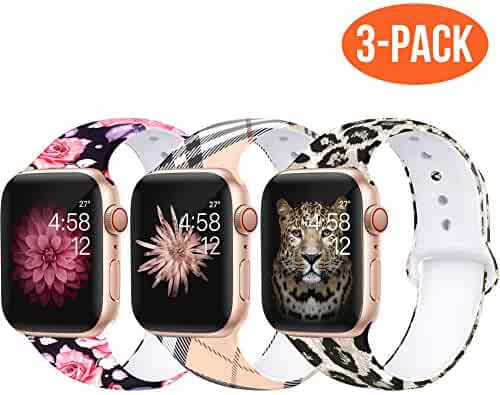 Bravely klimbing Floral Bands Compatible for App le Watch Band 38mm 40mm 44mm 42mm Fadeless Pattern Printed Replacement Band Wristband for iWatch Series 5 4 3 2 1, for Women Men Kids S/M M/L