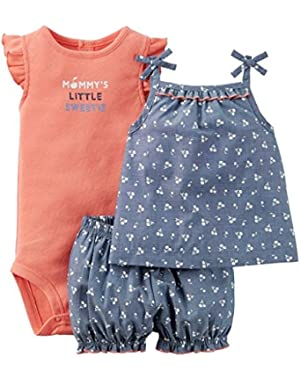 Just One You Baby Girls 3 Piece Diaper Cover Set Chambray/Orange