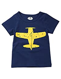Fairy Baby Little Boys' Airplane Printed Cotton Short Sleeve T Shirt Kids Tee Tops