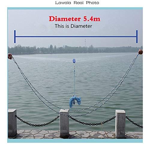 Lawaia American Hand Throw Fishing Net Fly Catch Fishing Net Easy Throw Fly Fishingnets Diameter 2.47.2m Casting Net   Dia 540cm