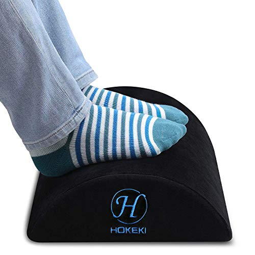 HOKEKI Foot Rest Under Desk with Ergonomic Height, Soft Yet Firm Foam Velvet Footrest Cushion, Foot Stool Rocker Pillow for Home, Office, Car, Airplane to Relieve Lumbar, Back, Knee Pain (Black)