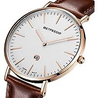[Patrocinado] BETFEEDO, reloj de pulsera analógico, ultradelgado. Reloj de Quartz con fecha y correa de piel negra para hombre., Blanco/Marrón