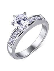 Mealguet Jewelry Stainless Steel AAA Cubic Zirconia Wedding Bands Enternity Ring for Women