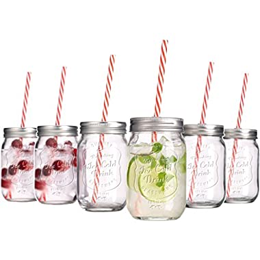 Set of 6 - 15-oz Mason Jar Beverage Cups, 6 Clear Glass Drink Cups with Metal Lid, Straw Included