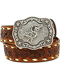 Nocona Boots Boys Boys Brown Floral Tooled Belt with Buckstitching and Buckle 24 Tan