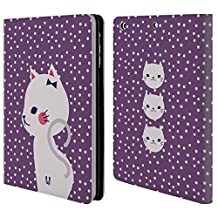 Head Case Designs White Cat In Purple Cats And Dots Leather Book Wallet Case Cover For Apple iPad mini 1 / 2 / 3