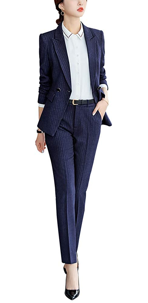 bluee966 LISUEYNE Women's 2 Pieces Blazer Set Office Lady Business Suit Set Formal Work Blazer Jacket&Pant Skirt